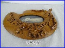 10.2 Antique French Large Fine Hand Carved Picutre Frame Oak Wood Roses G