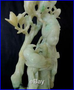 10.5 CHINESE ANTIQUE FINELY CARVED JADE STATUE of HE-XIANGU IMMORTAL LATE QING