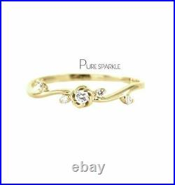 14K Gold 0.08 Ct. Diamond Antique Carved Flower Ring Fine Jewelry