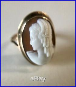 14k Rose Gold Victorian Finely Carved Shell Cameo Ring Antique Size 7.5