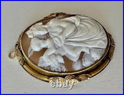 1850's Large Antique Victorian 14K gold & Hand Carved Shell Cameo Brooch Pendant