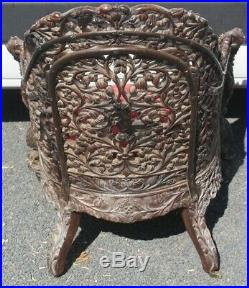 1900's Chinese Oak Finely Carved Armchair with Red Upholstery