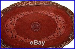 19C Chinese Cinnabar Lacquer Finely Carved Carved Bronze Plate Dish Tray