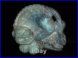 19th Century Finely Carved Turquoise Tiger Statuette Figurine Figure