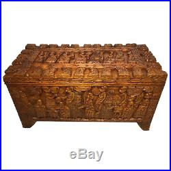 1 Large Fine Oriental Chinese Tribal Camphor Wood Carved Chest Coffee Table