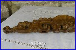 25 Antique French Hand Carved Wood Walnut Pediment-Finely Carved on Two Sides