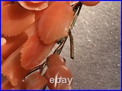 2 Antique 14k GOLD Mediterranean Carved Salmon Coral Tear Drop Dangle Earrings