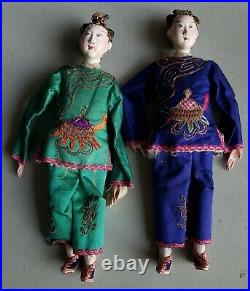 2 Chinese Fine Antique Carved Wood Jointed Women Figures (Dolls) in Silk Clothes