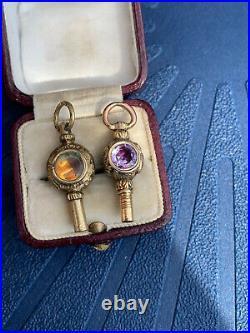 2 Georgian Gold Carved Watch Key Pendants. Amethyst And Bloodstone