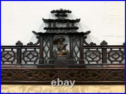 3 Panel Antique Chinese Floor Screen H 88 x W 72 Fine Carved Dragons Pagoda