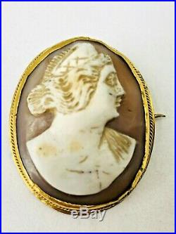 3 x ANTIQUE VINTAGE SHELL CAMEO BROOCHES FINE DETAILED CARVED UNUSUAL