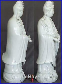 56 cm High 19th-20th Century Chinese finely Carved Dehua Blanc-de-Chine Guanyin