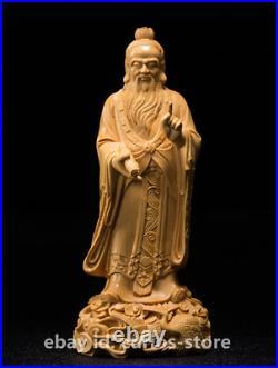 7.1 Fine China Box-wood Hand-carved Taoists Founder Lao-tzu Lao Zi Stand Statue