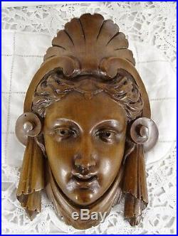 8 Antique French Finely Carved Walnut Wood Head Wall Ornaments Renaissance 19th