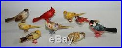 9 Antique fine japanese hand carved birds & polychromed signed early 20th C