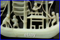 A095 A Fine and Intricate Chinese Carved Celadon Jade Ship, late Qing Dynasty