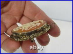 ANTIQUE 10K GOLD CARVED SHELL CAMEO with THREE GRACES PENDANT BROOCH