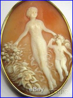 ANTIQUE 15K FINELY CARVED SHELL EROS & APHRODITE CAMEO BROOCH c1900