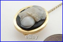 ANTIQUE 15K GOLD FINELY CARVED HARDSTONE AGATE AJAX WARRIOR CAMEO STICKPIN c1880