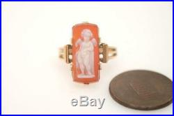 ANTIQUE 15K GOLD FINELY CARVED HARDSTONE CUPID / EROS CAMEO RING c1880