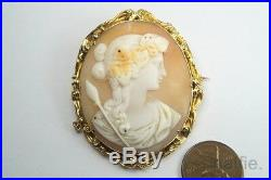 ANTIQUE 18K GOLD FINELY CARVED SHELL DIONYSUS / BACCHUS CAMEO BROOCH c1860