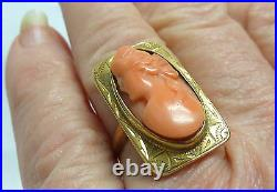 ANTIQUE 1910 10KT YG CORAL CARVED CAMEO LADIES RING SZ6.25 5g I-1563