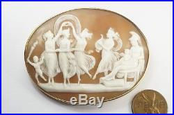 ANTIQUE 9K GOLD FINELY CARVED SHELL THREE GRACES VENUS & MARS CAMEO BROOCH c1880