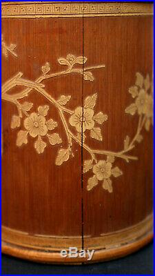 ANTIQUE BAMBOO OPIUM CONTAINER carved calligraphy VERY FINE