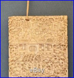 ANTIQUE CARVED CHINESE CANTON CARD CASE fine carving bovine bone