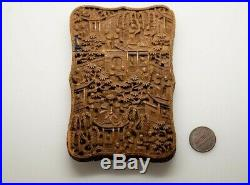 ANTIQUE CHINESE CANTONESE FINELY CARVED SANDALWOOD CARD CASE c1800's