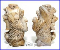 ANTIQUE CHINESE PAIR FINELY CARVED SOAPSTONE FOO DOG CANDLESTICKS, WithNAT PATINA