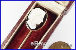 ANTIQUE ENGLISH 15K GOLD FINELY CARVED BANDED AGATE CAMEO STICKPIN c1880