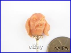 ANTIQUE FRENCH 18K GOLD FINELY CARVED NATURAL CORAL DOG HEAD STICKPIN c1840