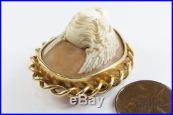 ANTIQUE FRENCH 18K GOLD FINELY CARVED SHELL CAMEO BROOCH c1870 CUPID / EROS