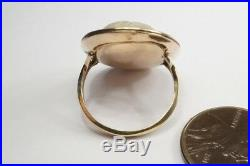 ANTIQUE GEORGIAN 15K GOLD FINELY CARVED GRYLLUS CAMEO RING c1800