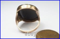 ANTIQUE GEORGIAN 9K GOLD CARVED HARDSTONE AGATE ATHENA CAMEO RING c1800