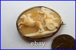 ANTIQUE GEORGIAN 9K GOLD CARVED SHELL CUPID & LION CHARIOT CAMEO BROOCH c1820