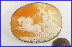 ANTIQUE SILVER FINELY CARVED SHELL EROS & PSYCHE CHARIOT CAMEO BROOCH c1880