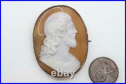 ANTIQUE SILVER FINELY HAND CARVED SHELL JESUS CHRIST CAMEO BROOCH c1880
