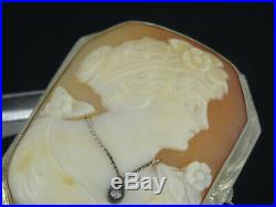 ANTIQUE SOLID 14K GOLD FRAME FINE CARVED CAMEO LADY PIN BROOCH with DIAMOND 1.5