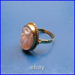 ANTIQUE STYLE CARVED SHELL CAMEO CORNELIAN RING Vintage STYLE 7,5 ITALY ART DECO