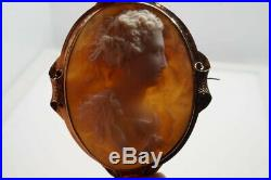 ANTIQUE VICTORIAN 15K GOLD FINELY CARVED SHELL CAMEO BROOCH c1870 DEMETER