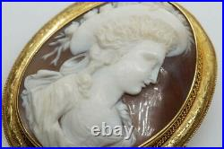 ANTIQUE VICTORIAN 15K GOLD FINELY CARVED SHELL LADY PORTRAIT CAMEO BROOCH c1870