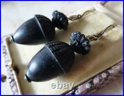 ANTIQUE VICTORIAN BOG OAK JET EARRINGS carved acorn drops MOURNING JEWELLERY
