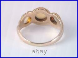ANTIQUE VICTORIAN CARVED 10K SOLID GOLD 3 COLORFUL OPAL CAB STONE RING sz 6 1/4+