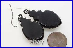 ANTIQUE VICTORIAN ENGLISH FINELY CARVED WHITBY JET DROP EARRINGS c1870