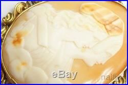 ANTIQUE VICTORIAN GOLD FINELY CARVED SHELL RAPHAEL & MUSE CAMEO BROOCH c1880