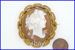 ANTIQUE VICTORIAN PINCHBECK FINELY CARVED SHELL BACCHANTE CAMEO BROOCH c1860