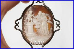 ANTIQUE VICTORIAN SILVER CARVED SHELL CUPID ALTAR OF LOVE CAMEO BROOCH c1898