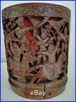 ANTIQUE c1880 FINE CARVED Warriors War ALL ROUND CHINESE BAMBOO BRUSH POT